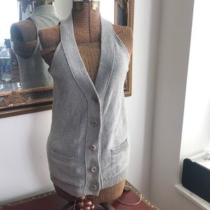 Vince Gray Cotton Racerback sweater knit vest
